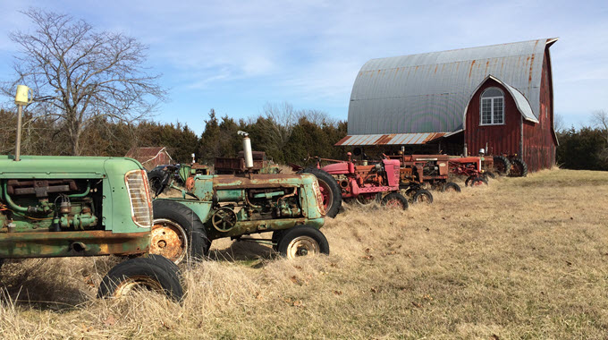 Antique Tractors Lined Up